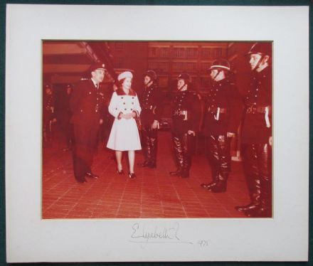Extraordinary Queen Elizabeth II Presentation Signed Photograph 1975 Police PVC